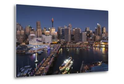 Australia, Sydney, Darling Harbor, and Pyrmont Bridge, Elevated View-Walter Bibikow-Metal Print