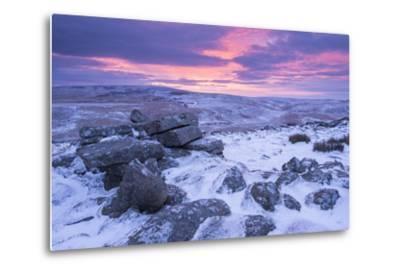 Beautiful Sunrise over a Frozen and Snow Covered Belstone Tor, Dartmoor National Park, Devon-Adam Burton-Metal Print