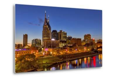 Skyline at Dusk over the Cumberland River in Nashville Tennessee-Chuck Haney-Metal Print