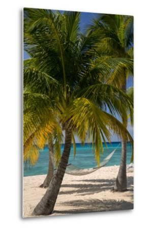Palm Trees and Hammock at Seven Mile Beach, Grand Cayman, West Indies-Brian Jannsen-Metal Print