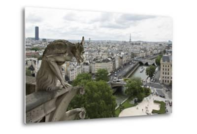 Europe, France, Paris. a Gargoyle on the Notre Dame Cathedral-Charles Sleicher-Metal Print