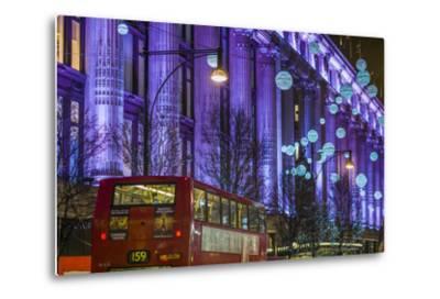 England, London, Soho, Oxford Street, Christmas Decorations and Bus-Walter Bibikow-Metal Print