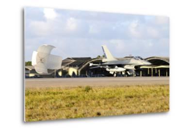 Chilean Air Force F-16A Landing with Parachute Brake at Natal Air Force Base-Stocktrek Images-Metal Print
