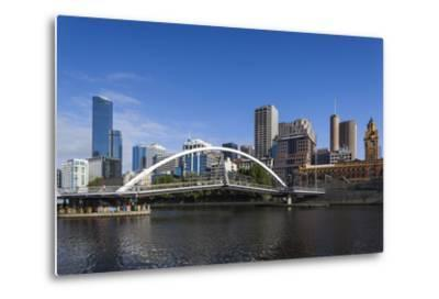 Australia, Victoria, Melbourne, Skyline from Yarra River-Walter Bibikow-Metal Print