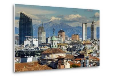 City Skyline with the Alps in the Background, Milan, Lombardy, Italy-Stefano Politi Markovina-Metal Print