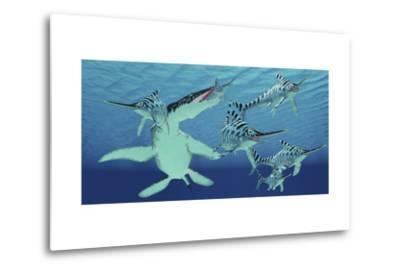 A Pod of Eurhinosaurus Marine Reptiles Try to Evade the Much Larger Liopleurodon-Stocktrek Images-Metal Print