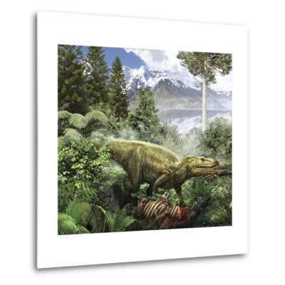 Alioramus Feediing on the Carcass of a Dead Animal-Stocktrek Images-Metal Print