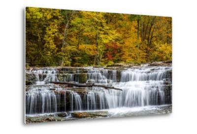 Upper Cataract Falls on Mill Creek in Autumn at Lieber Sra, Indiana-Chuck Haney-Metal Print