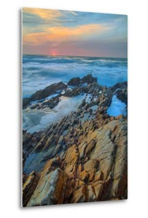 Sunset Seascape at Montaña de Oro--Metal Print