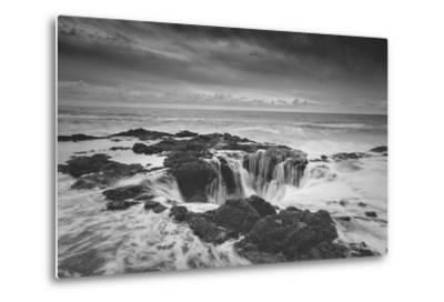 Scene at Thor's Well in Black and White, Oregon Coast--Metal Print