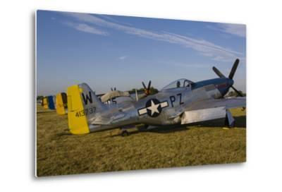 A P-51 Mustang Parked at Eaa Airventure, Oshkosh, Wisconsin-Stocktrek Images-Metal Print