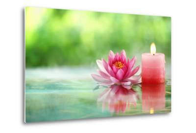 Burning Candle and Water Lily in Water.-Liang Zhang-Metal Print
