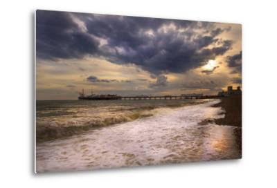 Stunning Sunset over Ocean and Pier-Veneratio-Metal Print
