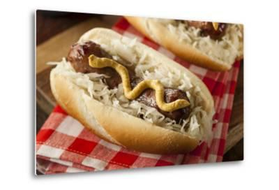 Homemade Bratwurst with Sauerkraut-bhofack22-Metal Print