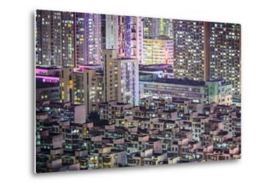 Shenzhen, China City Skyline at Twilight.-SeanPavonePhoto-Metal Print