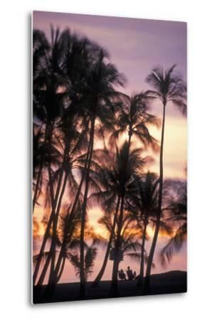 Palm Trees and a Couple in Beach Chairs at Sunset at Anaehoomalu Bay-Design Pics Inc-Metal Print