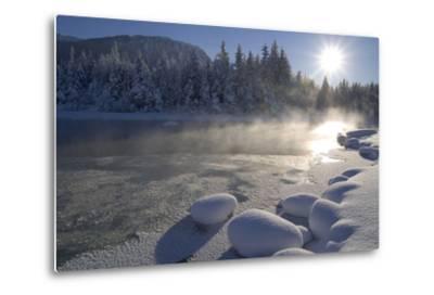 Mendenhall River Flowing Through Snow Covered Tongass National Forest Juneau Alaska Winter-Design Pics Inc-Metal Print