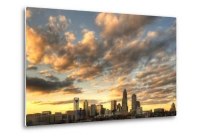 Skyline of Uptown Charlotte, North Carolina under Dramatic Cloud Cover.-SeanPavonePhoto-Metal Print