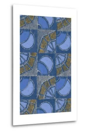 Patterned Squares of Blue and Gray-Found Image Press-Metal Print