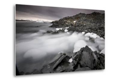 Foggy Landscape of Ice Blocks on a Rocky Beach-Jim Richardson-Metal Print
