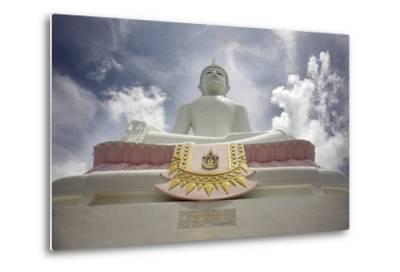 Low Angle View of Buddha and Temple; Phra Buddhasurintaramongkol, Isan, Thailand-Design Pics Inc-Metal Print