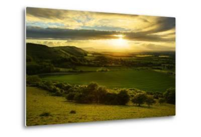 Stunning Countryside Landscape with Sun Lighting Side of Hills at Sunset-Veneratio-Metal Print