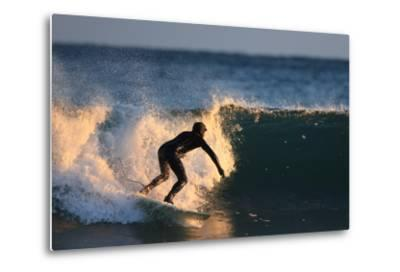 A Surfer Rides a Winter Wave Off the Coast of Maine-Robbie George-Metal Print