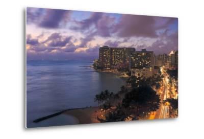 Hawaii, Oahu, Waikiki, View of Waikiki at Night-Design Pics Inc-Metal Print