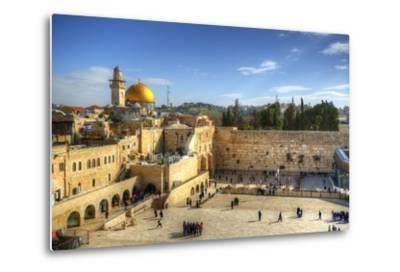 Western Wall and Dome of the Rock in the Old City of Jerusalem, Israel.-SeanPavonePhoto-Metal Print