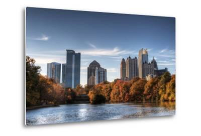 Skyline and Reflections of Midtown Atlanta, Georgia in Lake Meer from Piedmont Park.-SeanPavonePhoto-Metal Print