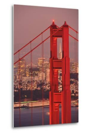 View from Golden Gate National Recreation Area Golden Gate Bridge with City of San Francisco-Design Pics Inc-Metal Print