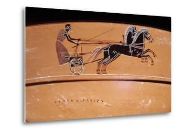 Etruscan Art: a Chariot Drawn by Two Horses (On a Vase)--Metal Print