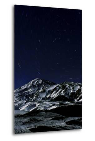 A Long Exposure Image Captured Star Trails around the North Celestial Pole over Mount Damavand-Babak Tafreshi-Metal Print