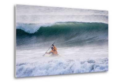 Man Kayak Surfing in Winter Surf Kachemak Bay Near Homer Kenai Peninsula Alaska Winter-Design Pics Inc-Metal Print