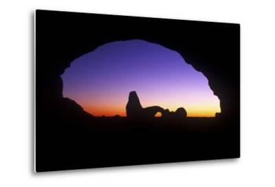 A View of North Window Arch Framing Turett Arch in Arches National Park, Utah-Keith Ladzinski-Metal Print