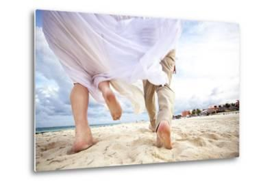 Newlyweds Run Down the Beach on the Riviera Maya in Mexico-Michael Lewis-Metal Print