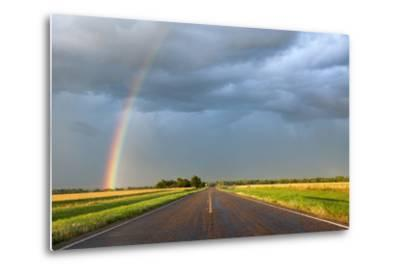 A Thunderstorm Produces a Vivid Rainbow Next to a Rain-Soaked Paved Road-Jim Reed-Metal Print