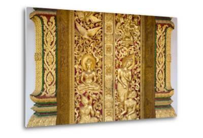 Gilded Wall Carvings at Wat Xieng Thong Monastery-Michael Melford-Metal Print