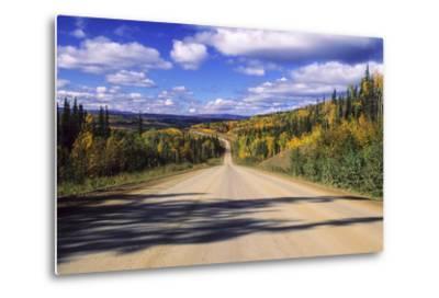 Cumulus Clouds Drift over a Colorful Autumn Landscape-Jim Reed-Metal Print