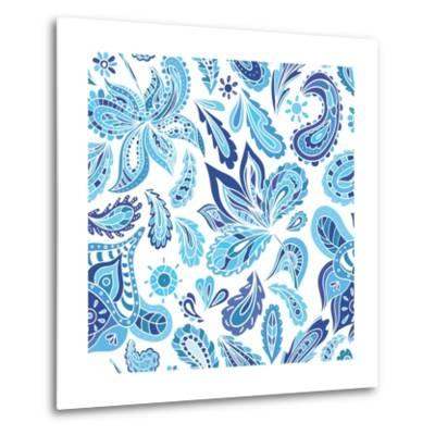 Blue Fresh Indian Vector Pattern-kisika-Metal Print