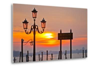 Sunrise over the Gondola Station at Saint Mark's Square in Venice-Mike Theiss-Metal Print