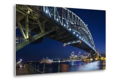 Australia, Sydney Harbor Bridge and Skyline from Milsons Point-Walter Bibikow-Metal Print