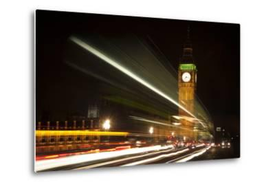 Long Exposure Lights from Traffic Big Ben London at Night-Veneratio-Metal Print