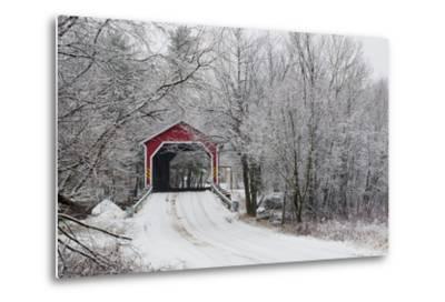 Red Covered Bridge in the Winter; Adamsville Quebec Canada-Design Pics Inc-Metal Print