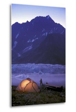 Kayaker Tent Camping at Dusk Pederson Glacier - Nkenai Fjords Np Kp Ak-Design Pics Inc-Metal Print