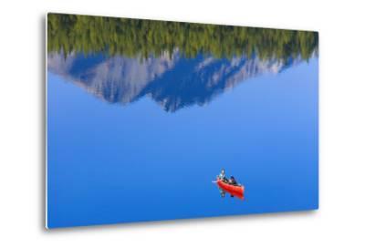 Woman Canoeing Long Lake in Matanuska Valley Chugach National Forest Alaska Summer-Design Pics Inc-Metal Print