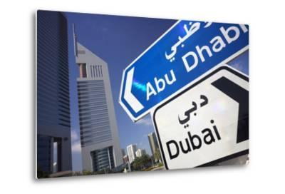 Direction Signs on Sheikh Zayed Road in Dubai-Jon Hicks-Metal Print