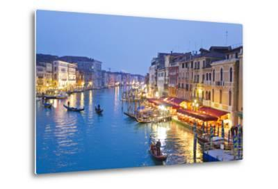 Outdoor Cafes and Gondolas Line Venice's Grand Canal Reflecting City Lights at Dusk-Mike Theiss-Metal Print