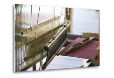 Stretched Strands of Fine Yarn in Traditional Looms at Ock Pop Tock, the Living Craft Center-Michael Melford-Metal Print