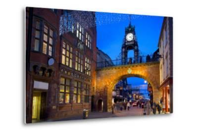 East Gate Clock at Christmas, Chester, Cheshire, England, United Kingdom, Europe-Frank Fell-Metal Print